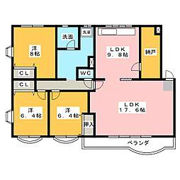 八雲マンション D棟[2階]の間取り