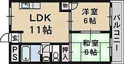 阪急千里線 千里山駅 徒歩9分の賃貸マンション 2階2LDKの間取り