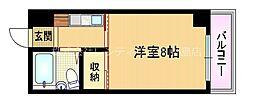 Osaka Metro谷町線 都島駅 徒歩3分の賃貸マンション 2階ワンルームの間取り