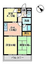 ベルフォーレ日根野[2階]の間取り