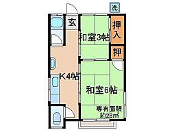 京都府京都市伏見区深草大亀谷六躰町の賃貸アパートの間取り