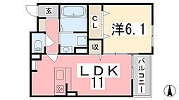 フェリア太田A 2階1LDKの間取り