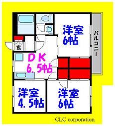 東京メトロ東西線 浦安駅 徒歩18分の賃貸マンション 5階3DKの間取り
