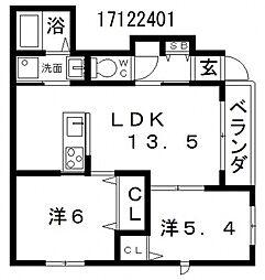 大阪府大阪市住吉区遠里小野5丁目の賃貸アパートの間取り