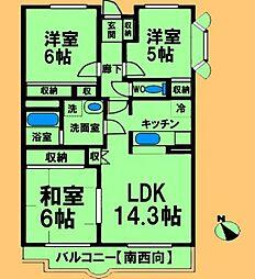 JR横浜線 古淵駅 徒歩10分の賃貸マンション 2階3LDKの間取り