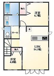 兵庫県姫路市西新在家2丁目の賃貸アパートの間取り