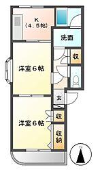 パラシオンH[1階]の間取り