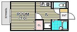 セジュールNAKAKI A棟[1階]の間取り