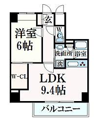 シー・クリサンス神戸 9階1LDKの間取り