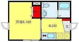 カーサ・グレーシア 東池袋 2階1Kの間取り