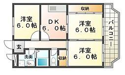 兵庫県尼崎市常吉1の賃貸マンションの間取り