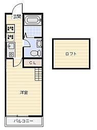 神奈川県横須賀市鷹取1の賃貸アパートの間取り