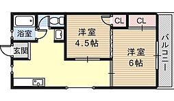 グローリィハイツ八戸ノ里[52号室]の間取り