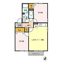 クレール錦江 B棟[2階]の間取り