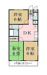 コーポウエタケII[3階]の間取り