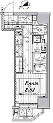 都営三田線 芝公園駅 徒歩10分の賃貸マンション 2階ワンルームの間取り