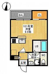 JR吉備線 備前三門駅 徒歩10分の賃貸アパート 2階ワンルームの間取り