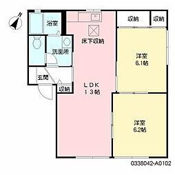 ディアス茶屋の原 A棟[1階]の間取り