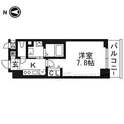 京福電気鉄道北野線 北野白梅町駅 徒歩15分の賃貸マンション 2階1Kの間取り