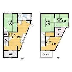 [テラスハウス] 大阪府大東市北条2丁目 の賃貸【/】の間取り
