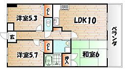 福岡県北九州市八幡東区天神町の賃貸マンションの間取り