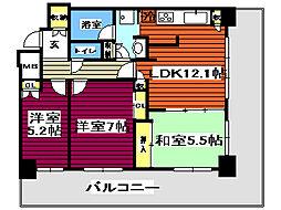 レジディアタワー仙台 4階3LDKの間取り
