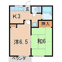 サンハイツK A[2階]の間取り