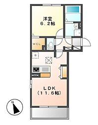 D−room横堀町 B棟[2階]の間取り