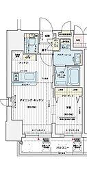 神戸高速東西線 西元町駅 徒歩3分の賃貸マンション 13階1DKの間取り