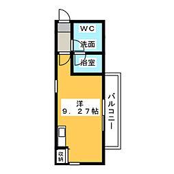 アバンティ名駅北 1階ワンルームの間取り