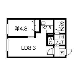JYUNAII 1階1LDKの間取り