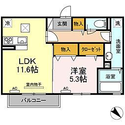 Grand-room朝日ヶ丘II 1階2LDKの間取り