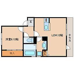 近鉄天理線 前栽駅 徒歩1分の賃貸アパート 1階1LDKの間取り