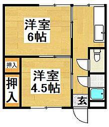 大阪府堺市西区堀上緑町2丁の賃貸アパートの間取り