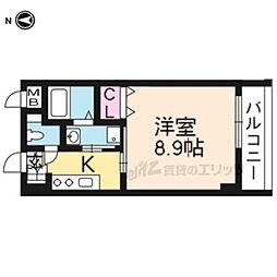 京都市営烏丸線 北大路駅 徒歩15分の賃貸マンション 2階1Kの間取り