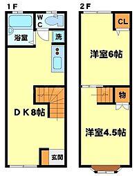 ミーテ江坂WEST 2階2DKの間取り