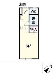 ファミールタカシ 2階ワンルームの間取り