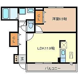 エスポワールTU[1階]の間取り