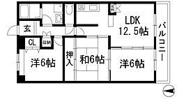 兵庫県伊丹市東野3丁目の賃貸マンションの間取り