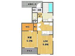 兵庫県伊丹市荒牧1丁目の賃貸アパートの間取り