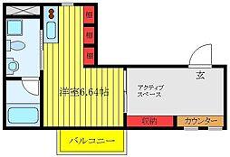 JR埼京線 板橋駅 徒歩5分の賃貸アパート 4階ワンルームの間取り