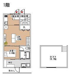 Luxe小郡(新築) 2階1LDKの間取り