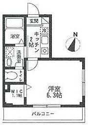小田急小田原線 南新宿駅 徒歩6分の賃貸マンション 2階1Kの間取り