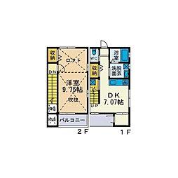 [テラスハウス] 神奈川県厚木市戸室2丁目 の賃貸【神奈川県 / 厚木市】の間取り