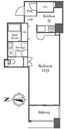 リバーシティ21イーストタワーズII 3階ワンルームの間取り