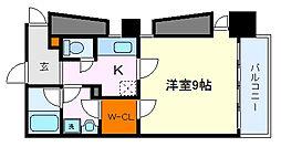 仙台市営南北線 広瀬通駅 徒歩8分の賃貸マンション 4階1Kの間取り