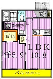 千葉県鎌ケ谷市道野辺中央4丁目の賃貸マンションの間取り