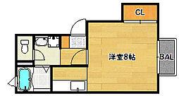 兵庫県神戸市北区山田町小部の賃貸アパートの間取り