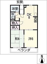 柿沢ハイツ B棟[3階]の間取り