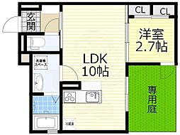 阪急宝塚本線 豊中駅 徒歩8分の賃貸アパート 1階1LDKの間取り
